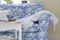 blue floral print Ektorp sofa