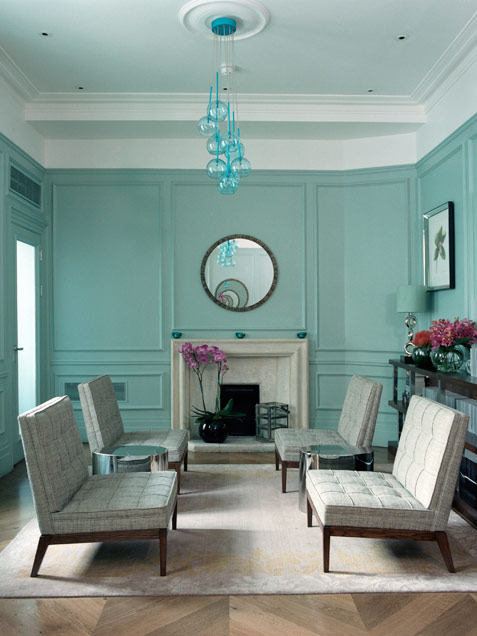 Blue Green Living Room In Midcentury Style