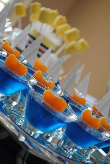 blue jelly with boat toppers for a boy baby shower