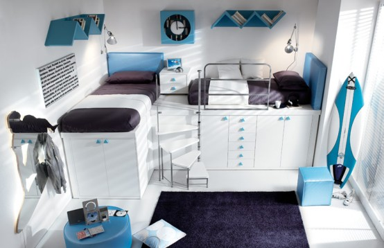 blue loft teenage bedroom