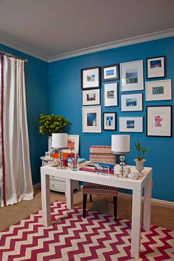 Colorful Home Office Unique Of Blue Office Walls Image