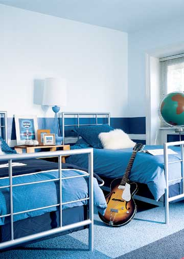 Blue is probably the most popular color for a boys room.