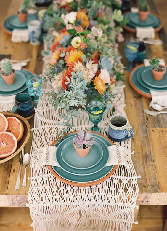 bold boho table setting for a boy baby shower