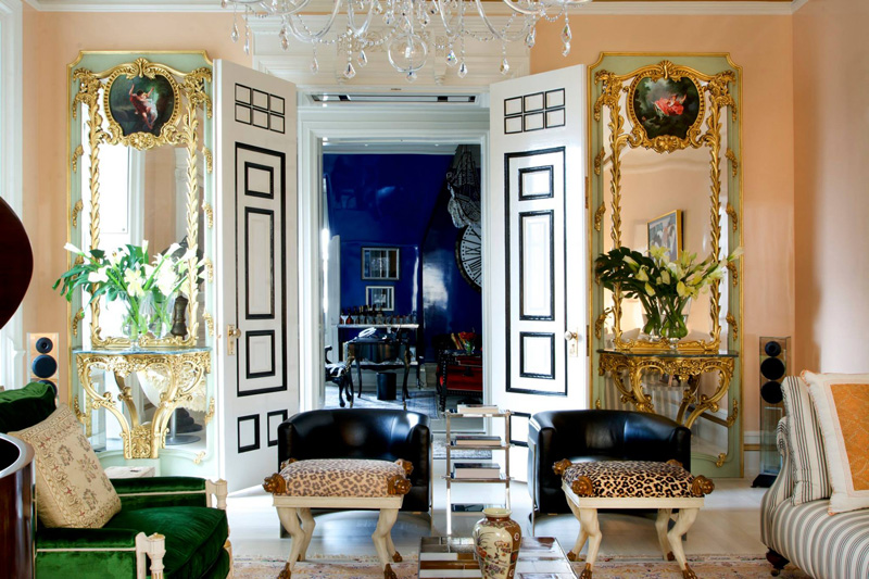 Picture Of bold lavish home with lots of colors and patterns  4