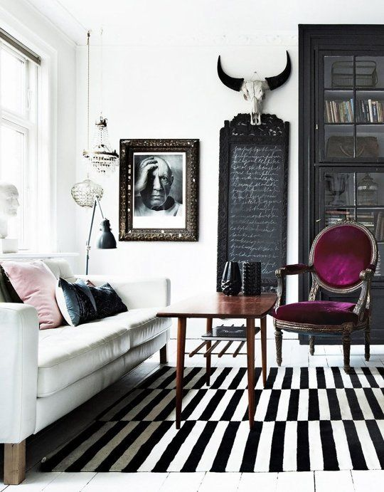 bold modern living room with Stockholm rug