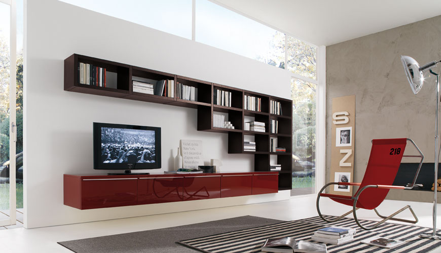 20 modern living room wall units for book storage from misuraemme