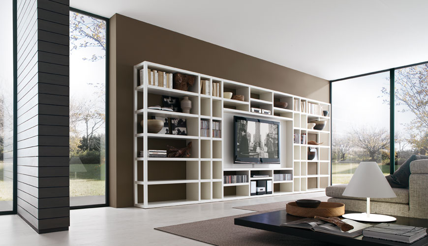 20 modern living room wall units for book storage from for Modern living room shelving units