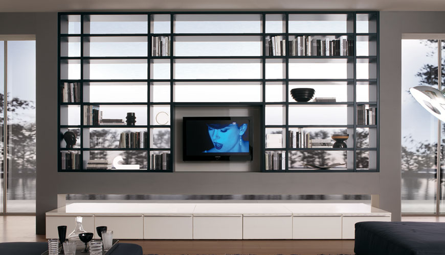20 Modern Living Room Wall Units for Book Storage from Misuraemme - DigsDigs