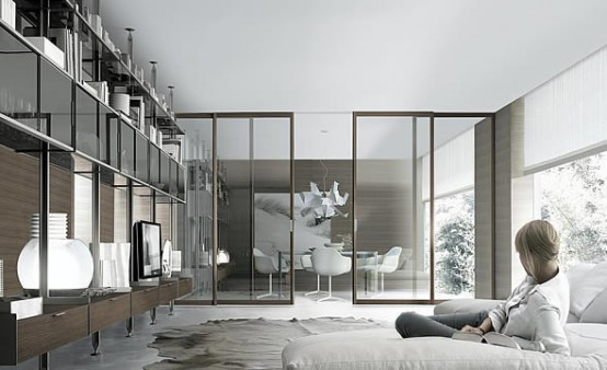 Bookcases for living room by rimadesio digsdigs for Ballarini arredamenti