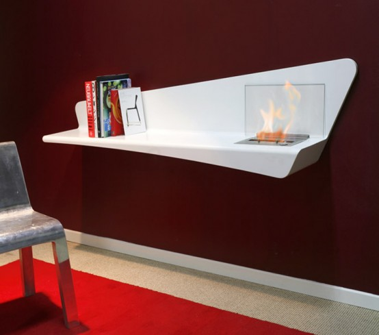 Steel Bookshelf With A Built-In Bio Fireplace