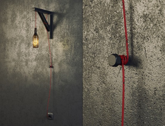 Bottle Shaped Industrial Wall Lamp For Men Spaces