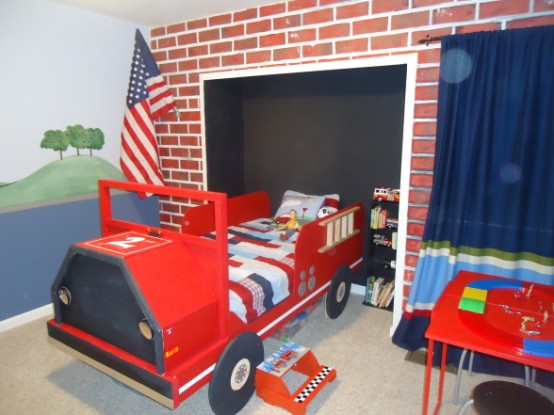 Faux brick wall is an awesome addition to a firetruck bed to make the space look like a fire station.