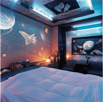 A lot of boys dream to become astronauts so thing about an open-space inspired room design.
