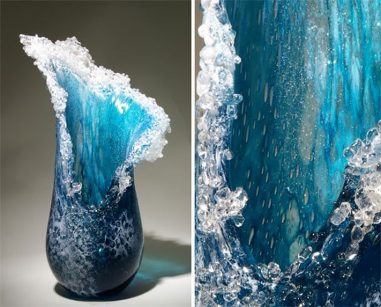 Breathtaking Sea Waves Vases Collection By Kela Glass Artists