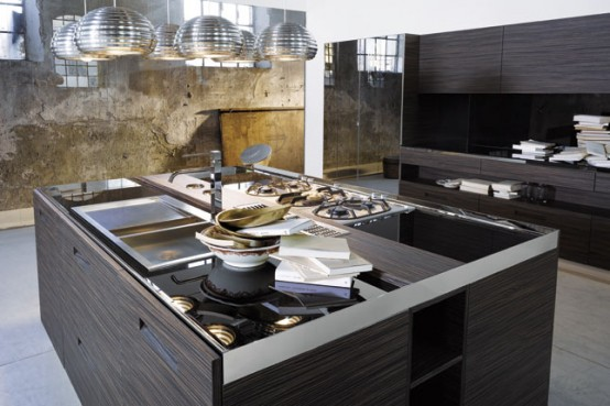 Kitchen with Glass Top and Integrated Handles – Brera from Elam
