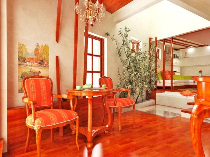 Picture of bright and inspiring orange room designs for Bright orange bedroom ideas