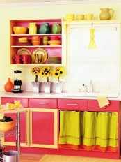 a bright kitchen in pink and neon yellow in retro style looks sunny and cheerful and raises the mood