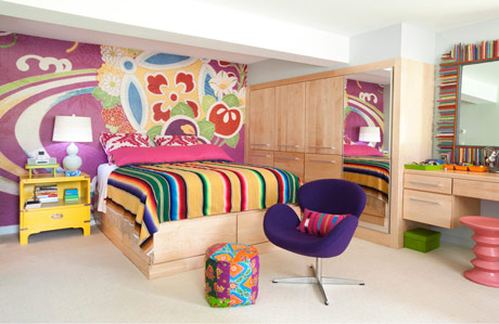 Very bright and colorful basement bedroom design digsdigs - Colorful teen bedroom designs ...