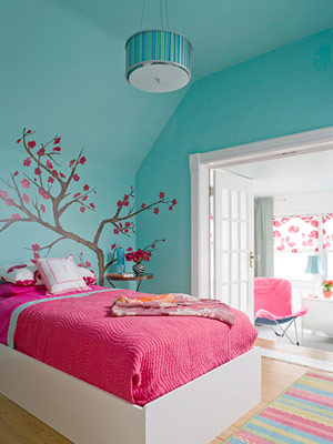 bright bedroom in two colors - Bright Color Bedroom Ideas