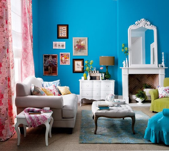 Bright Blue Living Room Part 18