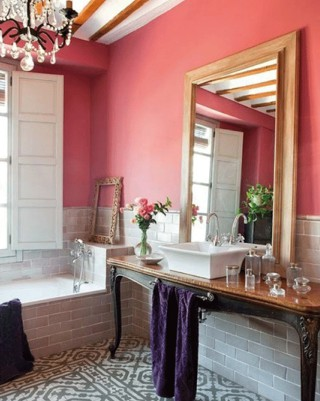 Bright Coral Bathroom