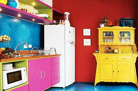 Attractive Bright Crazy Colored Kitchen