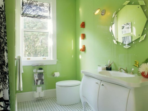 Bright Green Bathroom