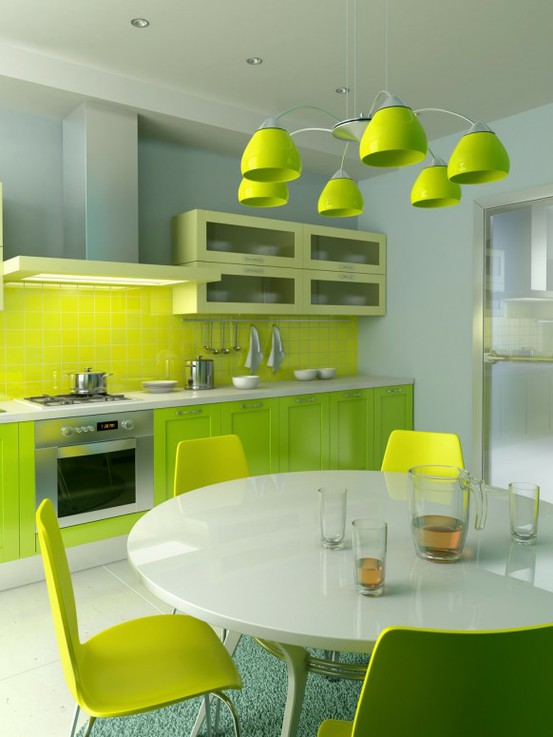 a contemporary lime colored kitchen with neon green cabinetry and a tile backsplash, white countertops, a white table and lime chairs