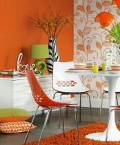 Bright Orange Dining Room