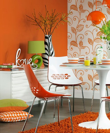 Bright Orange Dining Room