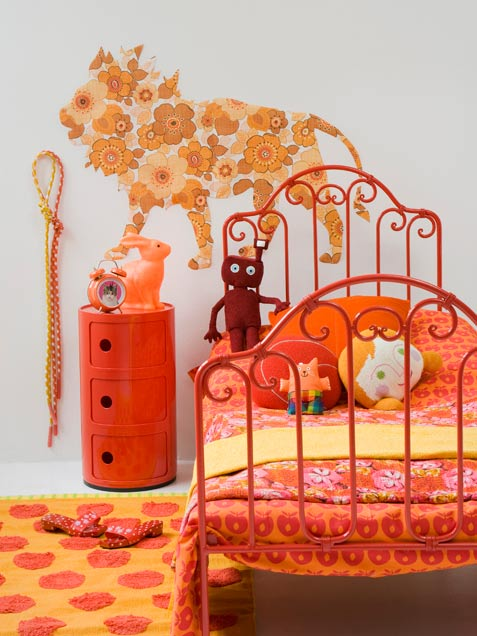 Bright Orange Girl Bedroom