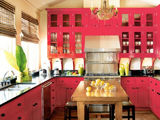 Colorful Room Design Ideas Advers Bright Pink Kitchen