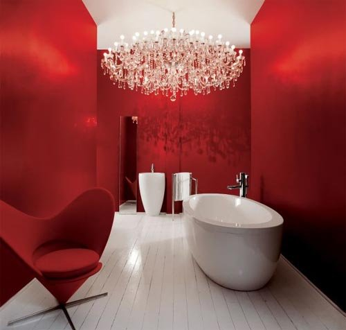 Bright Red Bathroom