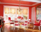 Bright Red Dining Room