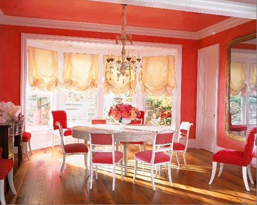 Colorful Blue Dining Area. Bright Red Dining Room