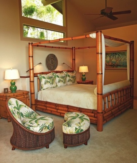 bamboo and wicker furniture, tropical printed textiles, unique art on the walls for a tropical feel