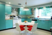 a cute turquoise kitchen design