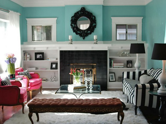 Bright Turquoise Living Room Part 30