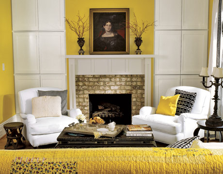 50 bright and colorful room design ideas digsdigs for Yellow brown living room ideas