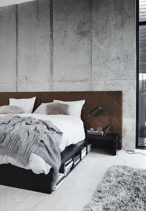brown fabric masculine headboard