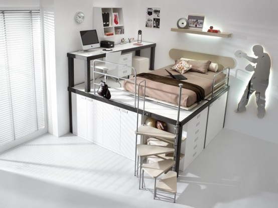 brown loft teenage beedroom. 10 Smart Solution for Small Rooms. Clever small room ideas, small room layout. Room with bed, office and wardrobe
