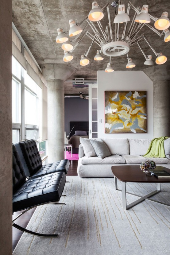 Loft With Large Open Space Archives DigsDigs - Colorful loft design with unique wall structure stargarder strasse by graft