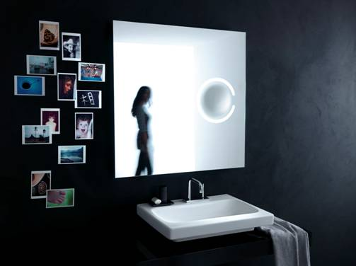 Contemporary Mirrors With Magnifier