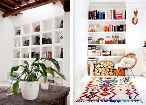 built-in shelves by the fireplace and just in the living room are a cool idea to save some space and place books there