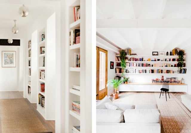 a corridor with built in shelves is great for storing books and a living room wall with long shelves to save some space