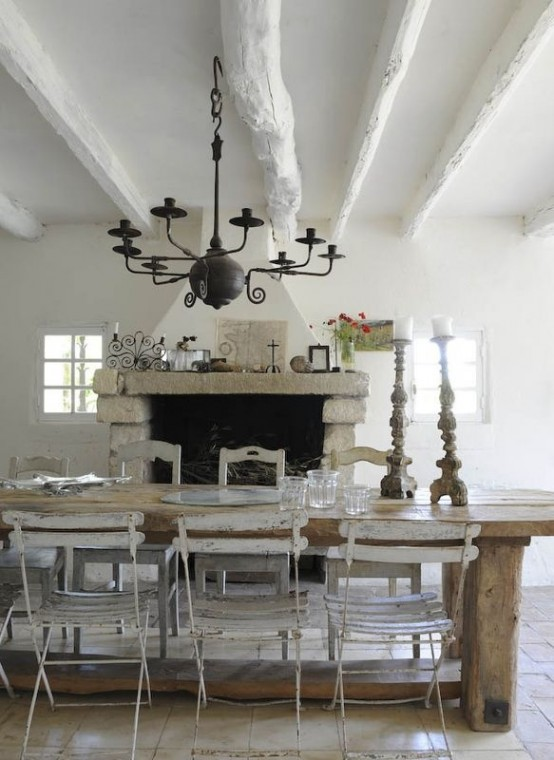 47 calm and airy rustic dining room designs digsdigs Shabby chic style interieur