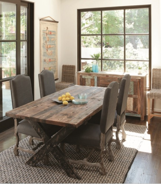Lovely Rustic Dining Room Ideas Part - 14: Calm And Airy Rustic Dining Room Designs