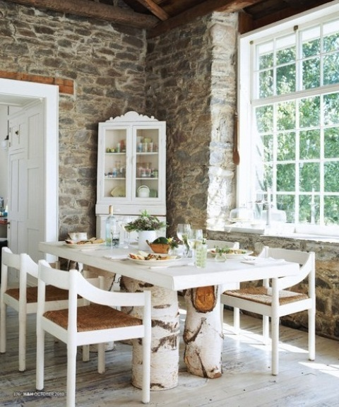 47 calm and airy rustic dining room designs digsdigs - Birch kitchen table ...
