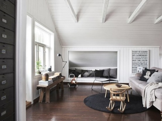 Calm And Cozy Norwegian Family Loft With Retro Touches