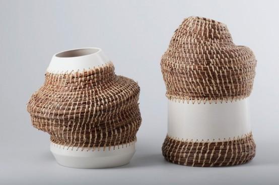 Caruma Vase Collection Combining Ceramics And Basket Weaving